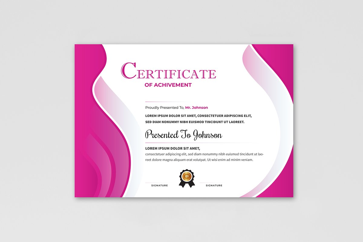 Abstract Certificate Design