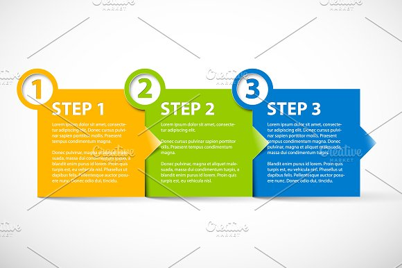 three steps template graphic objects creative market