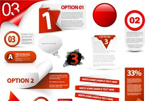 Set of Red Elements for your Website
