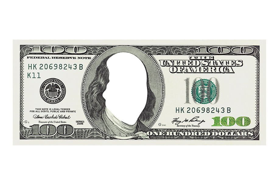 $100 dollar bill without face
