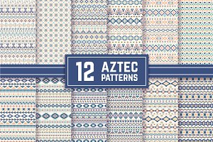 12 Aztec Seamless Patterns. Vector