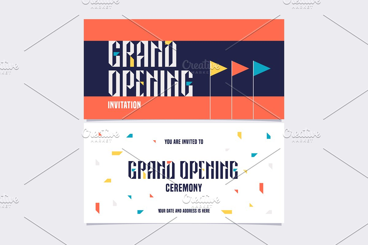 Grand Opening Vector Invitation Card