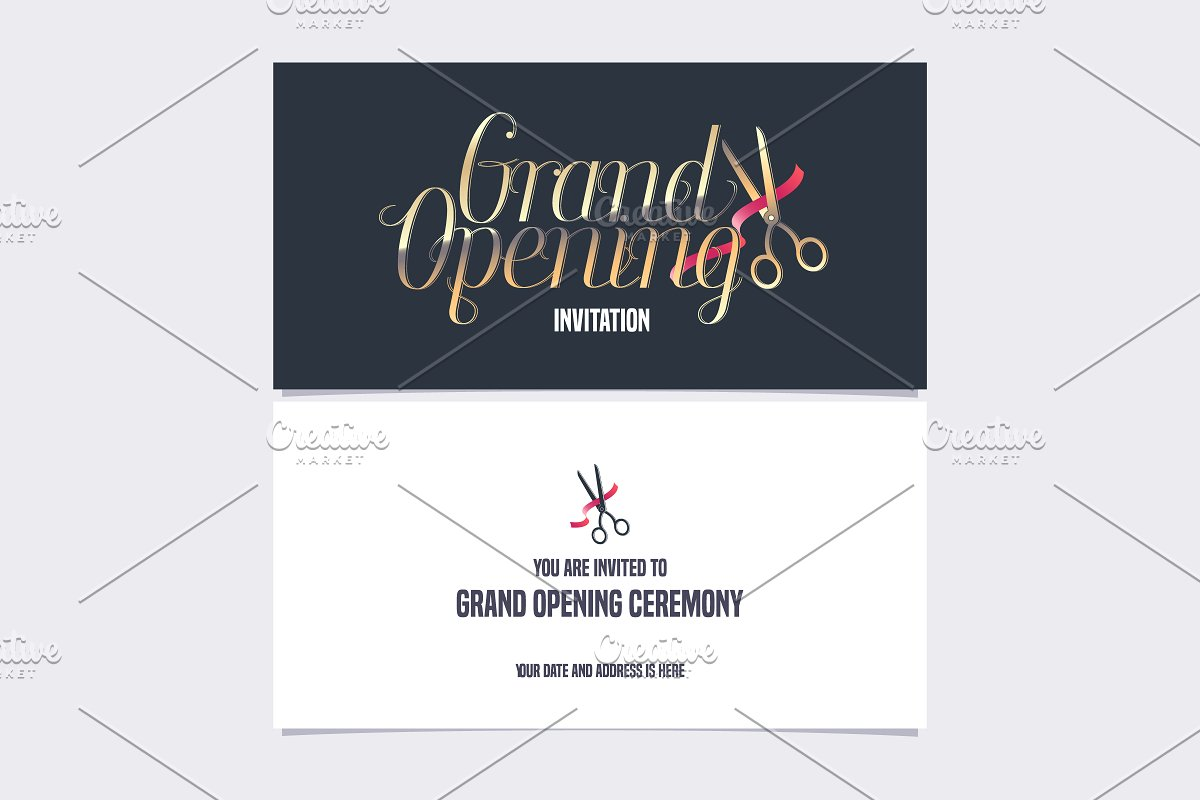 Grand Opening Invitation Card Vector