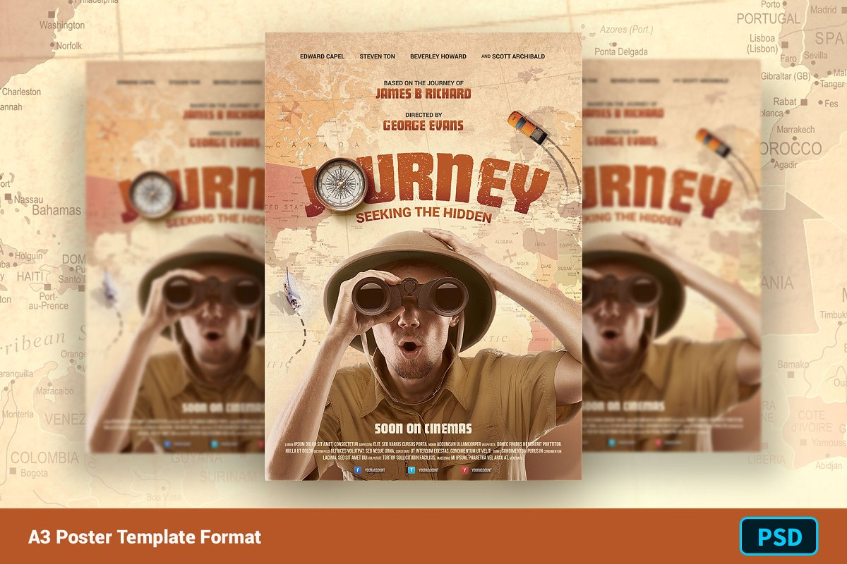 Movie Poster Template JOURNEY ~ Flyer Templates ~ Creative