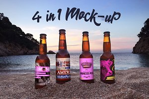 4 in 1 Beer Mockup