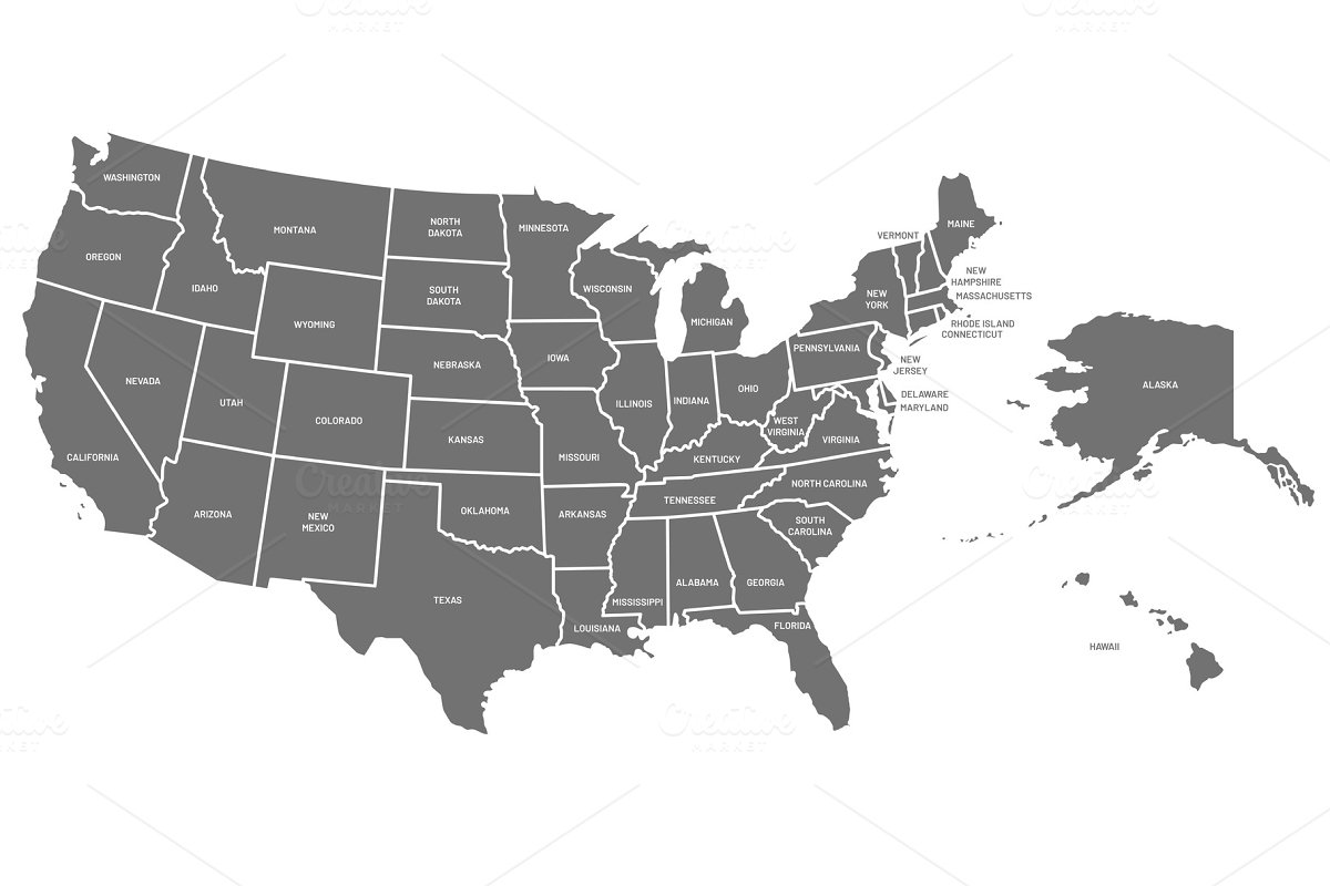 USA map. United States of America