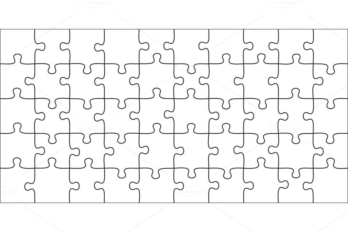 Puzzles pieces  10x5 jigsaws grid