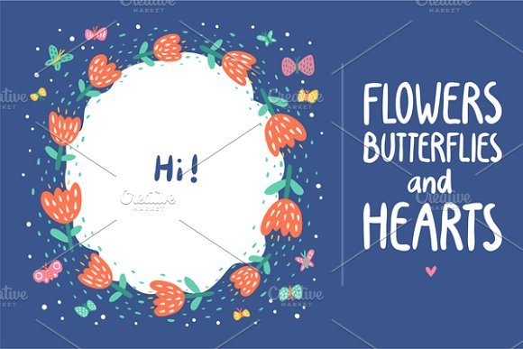 Flowers, Butterflies and Hearts