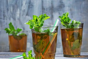 Cold summer  tea with mint