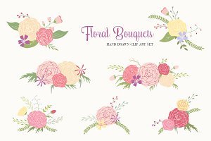 Hand Drawn Flower Bouquets