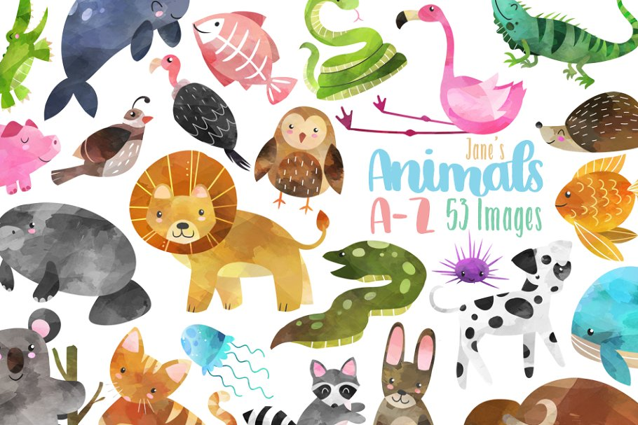 Watercolor Animal Alphabet Clipart