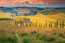 Idyllic Tuscany landscape at sunset by  in Nature