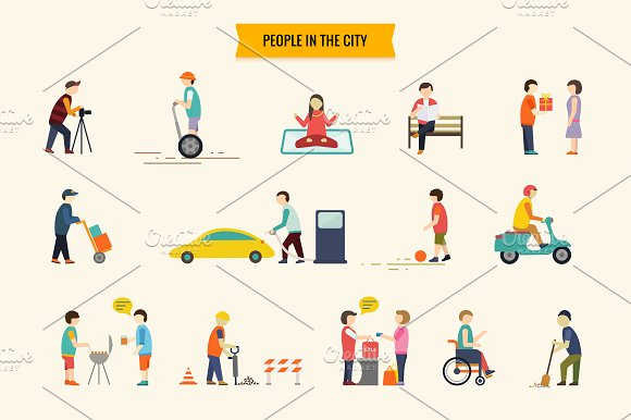 Flat people vector set in Illustrations - product preview 1