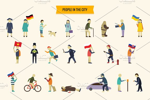 Flat people vector set in Illustrations - product preview 2