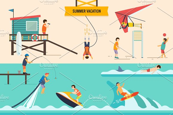 Flat people vector set in Illustrations - product preview 4