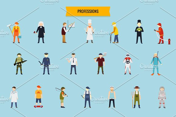 Flat people vector set in Illustrations - product preview 5