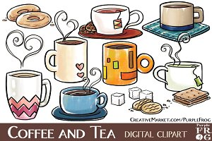 COFFEE AND TEA - Digital Clipart