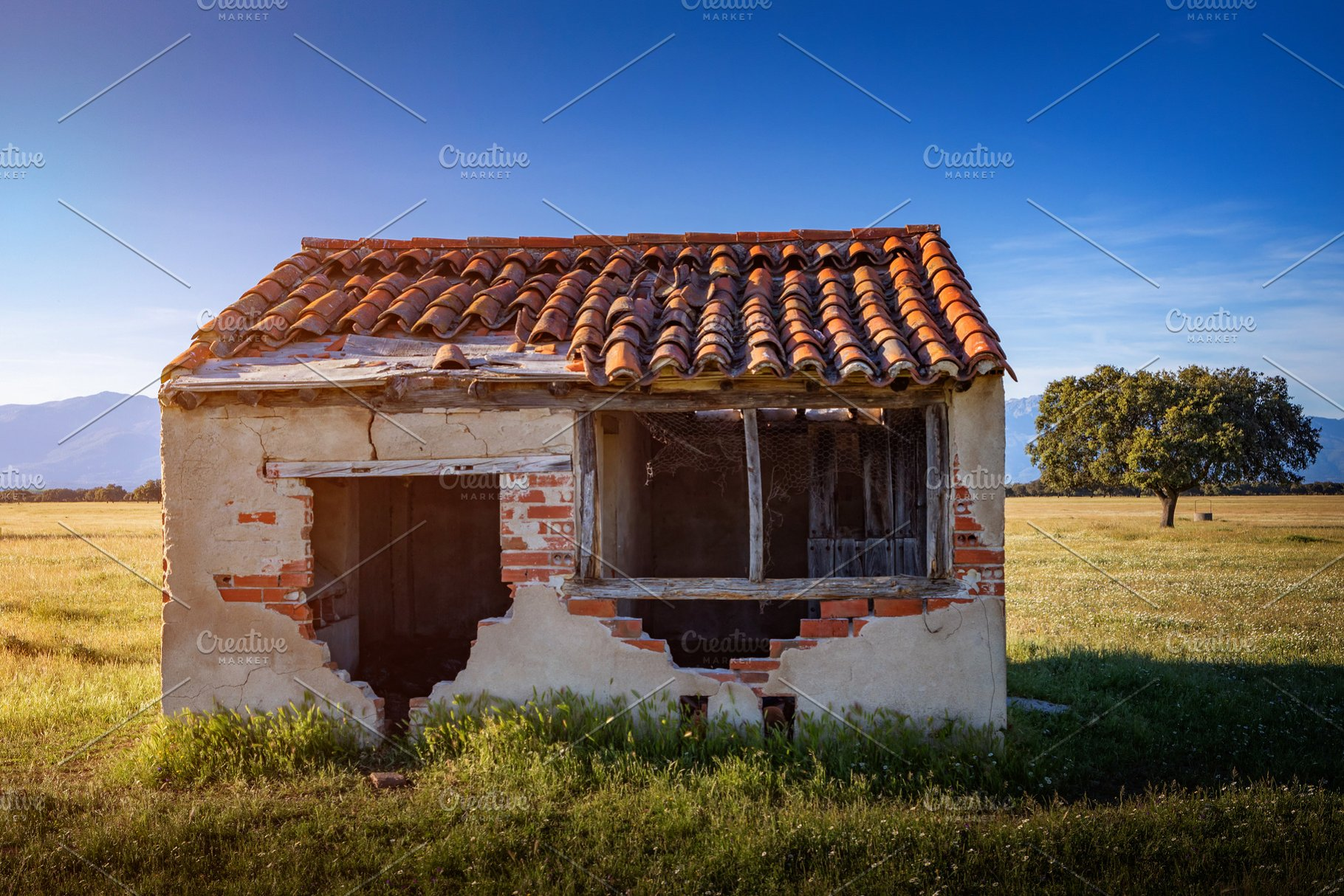 Small Old House With The Roof Collap High Quality People Images