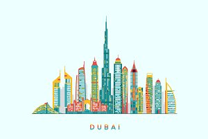 Dubai abstract skyline