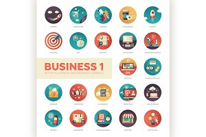 22 Business Flat Icons Set 1