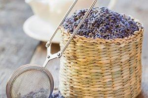 Lavender herbal tea in basket