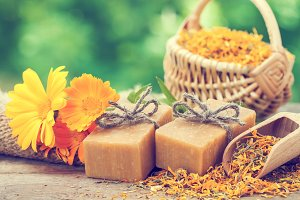 Homemade soaps and calendula flowers