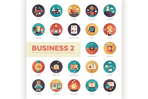22 Business Flat Icons Set 2