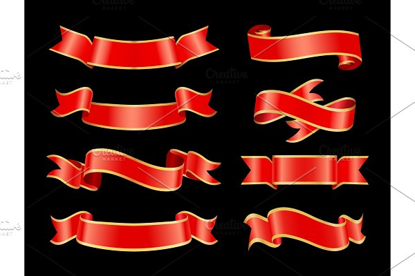 Ribbons Curved Banner Set Vector