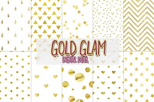 Gold Glam digital paper