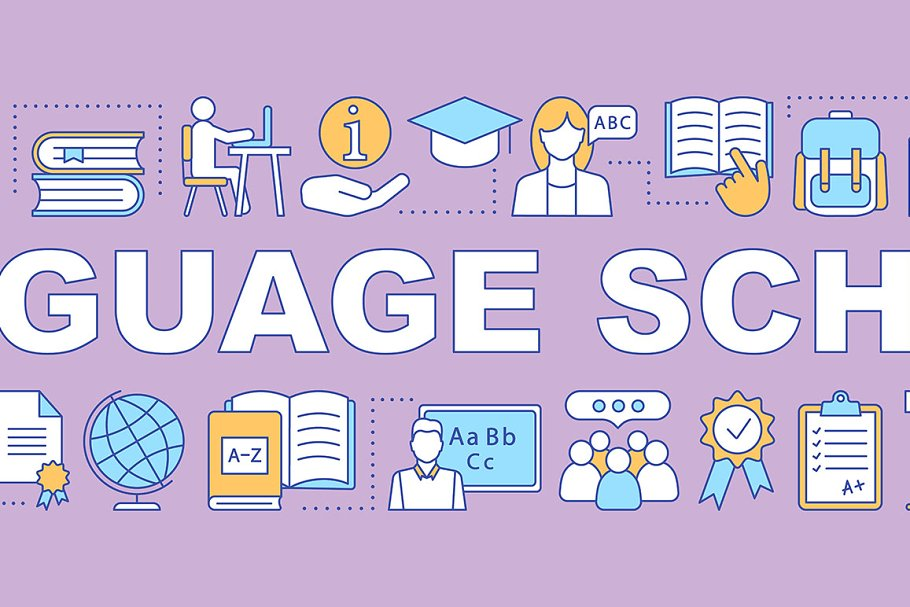 Language courses for kids banner
