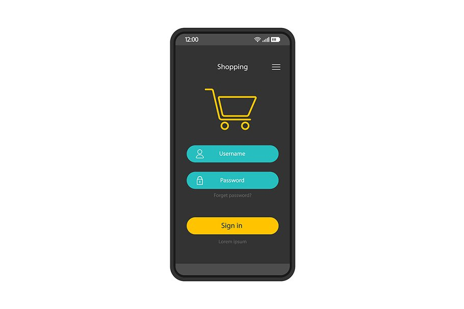 Online shopping account interface