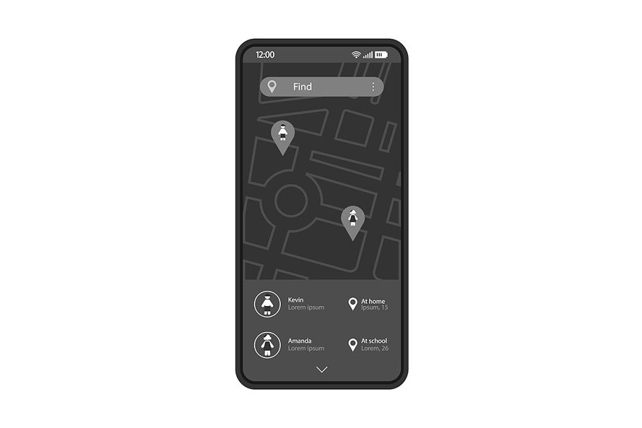 Child tracking app interface