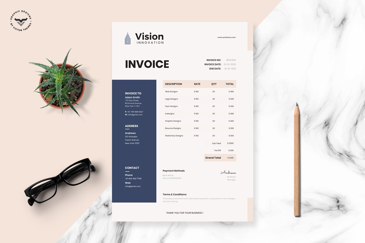 Professional Invoice Template in Stationery Templates