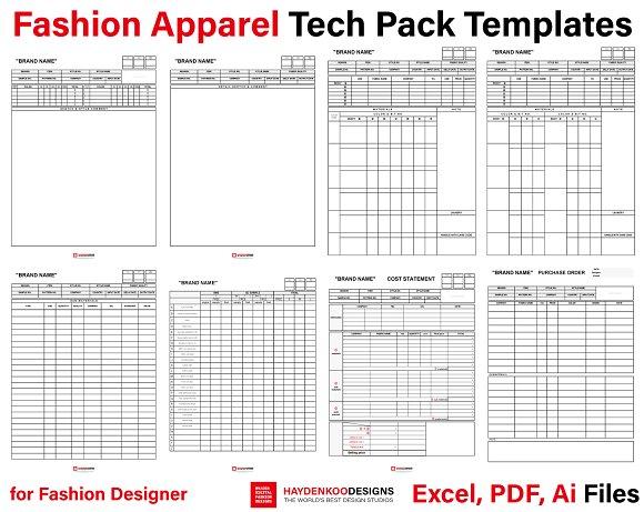 Fashion Apparel Tech Pack Templates