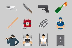 Crime flat and black icons