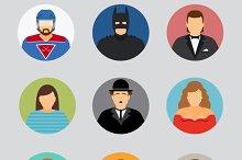 Avatar icons in flat design
