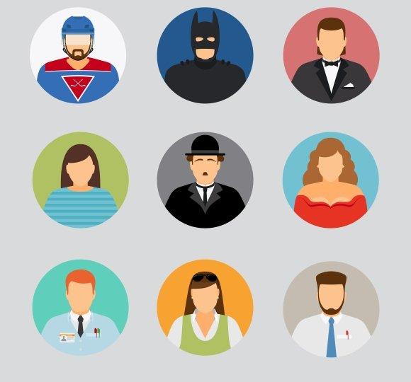 avatar icons in flat design graphics creative market