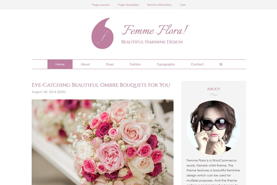 bd162eadaf4 Femme Flora WordPress Feminine Theme ~ WordPress Commerce Themes ~ Creative  Market