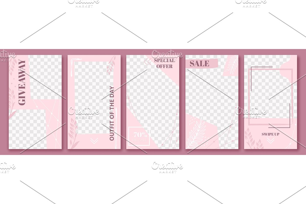 Pink stories template  Cute story