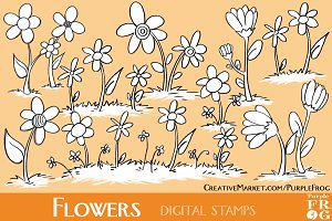 FLOWERS - Digital Stamps / Brushes
