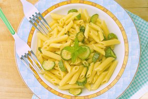 Italian penne pasta with zucchini