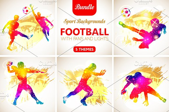 Football Players with Fans in Illustrations