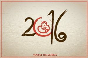 Year of the Monkey in oriental style