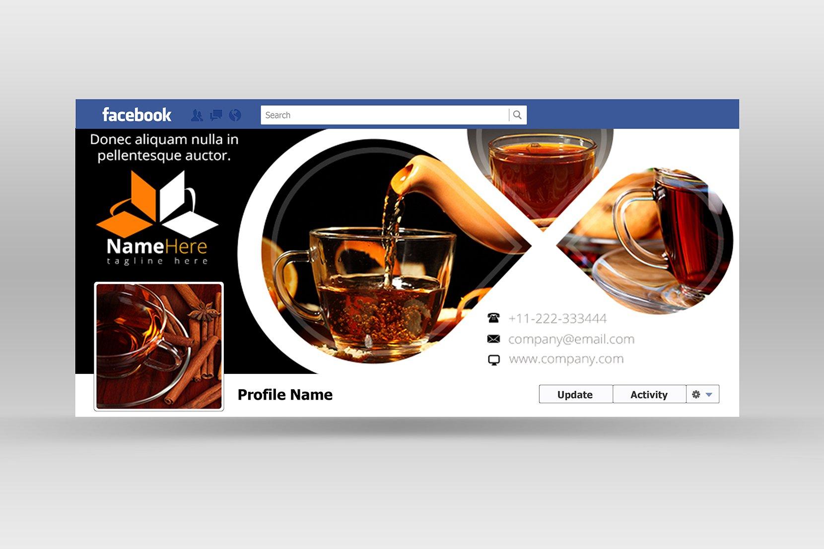 Food facebook cover web elements creative market for Design ideas facebook