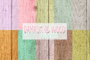 damask and wood digital paper