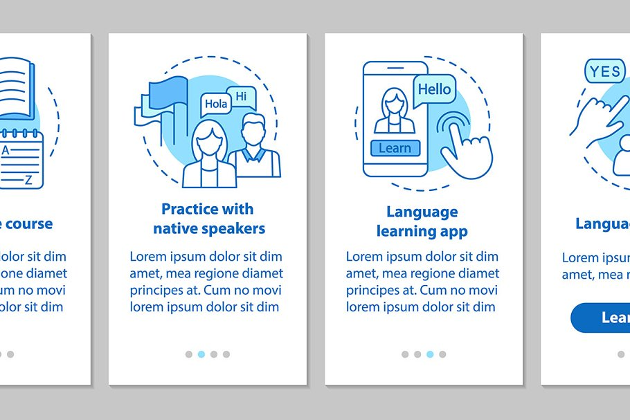 Language learning mobile app pages