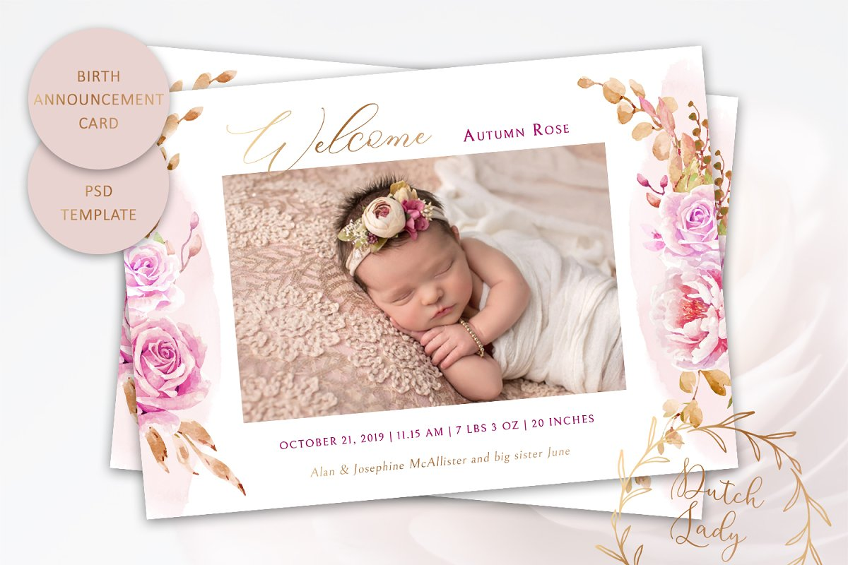 Birth Announcement Card Template #9