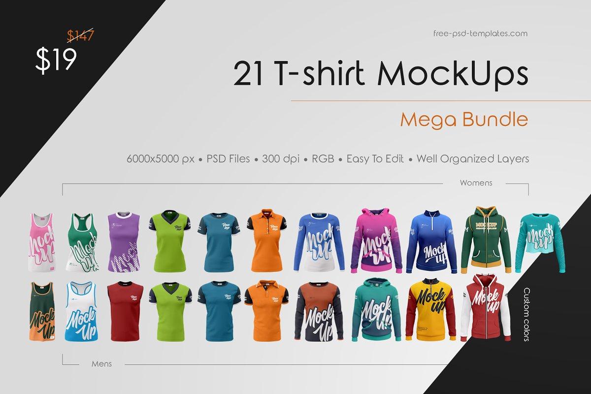 ef06bb705d83 21 T-shirt MockUps Mega Bundle ~ Branding Mockups ~ Creative Market
