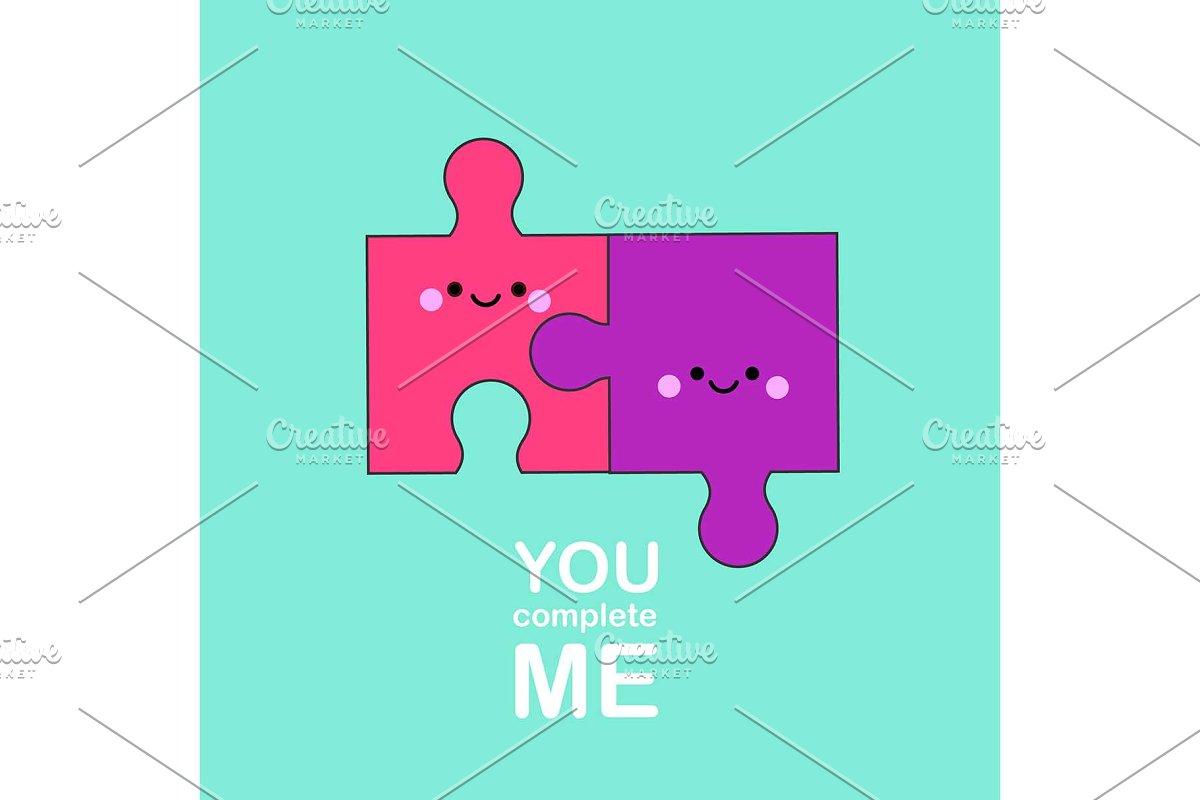 Cute kawaii puzzle pieces friends