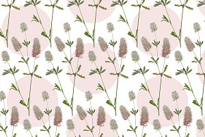 Fluffy flowers field plant seamless